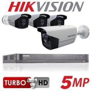Kit vidéo surveillance 4 cameras et dvr turbo HD 5MP Hikvision